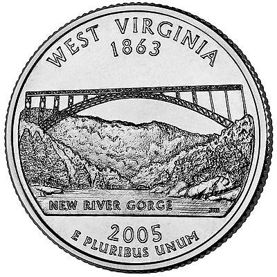 2005 D West Virginia Statehood Quarter Uncirculated from an OBW Roll Ships Free