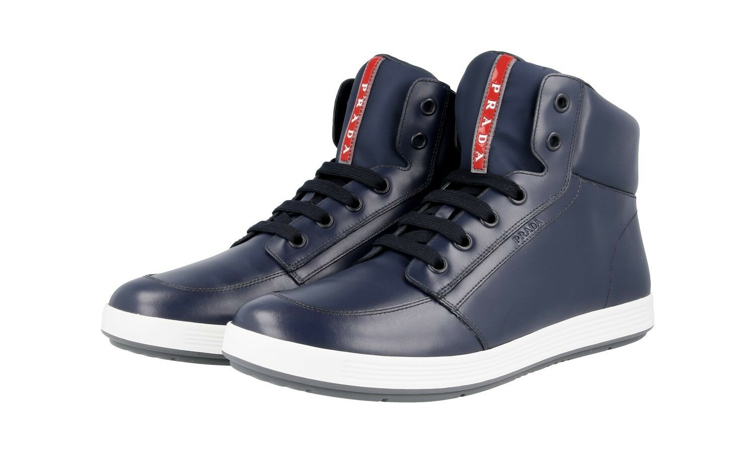 AUTH LUXURY PRADA SNEAKERS HIGH TOP SHOES 4T2843 blueE NEW 10 44 44,5