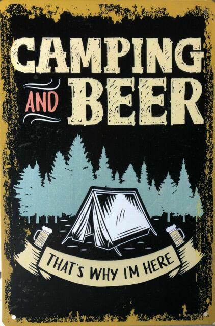 CAMPING AND BEER Rustic Vintage Retro Tin Signs Man Cave, Shed & Bar Garage Sign