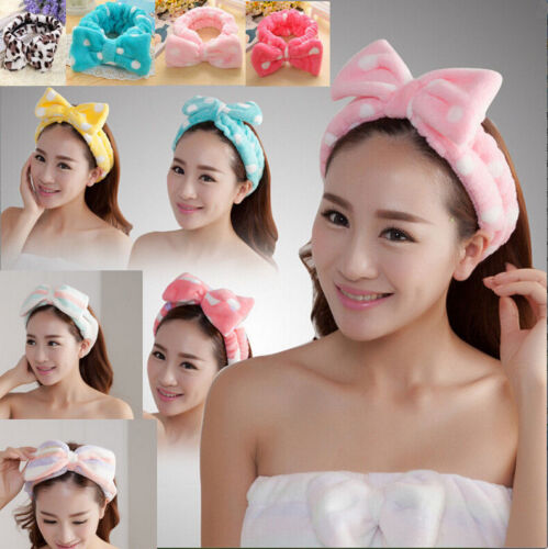 Cute Big Bow Soft Dot Striped Towel Hair Band Wrap Headband For Bath Spa Make Up