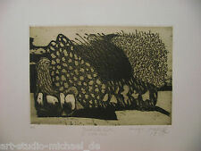 """Norddeutsche Künstler: Pit Morell: """"Bretonischer Garten"""" Radierung/Aquatinta"""