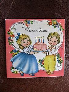 Vintage-Greeting-Card-Birthday-Invite-Cute-Girl-in-Blue-Dress-Little-Boy-w-Cake