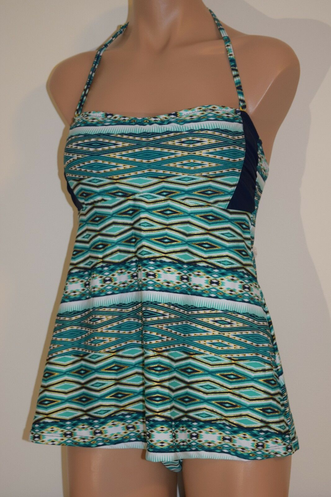 328d54206b521 Strap Sz M NWT Jessica Simpson Swimsuit Swimsuit Swimsuit Tankini 2pc Set  Navy Green Remov.