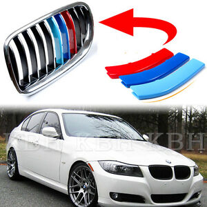 M Color Kidney Grille Cover Decal Stripe Clip BMW Series E E - Bmw m colored kidney grille stripe decals
