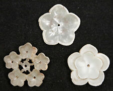 3 Large Antique Chinese Qing Carved Jade Flowers Clothes Ornament Jadeite China