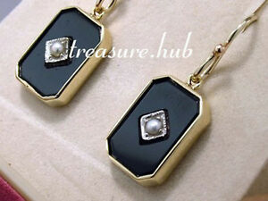 Genuine-REAL-9ct-SOLID-Yellow-Gold-Natural-ONYX-amp-Pearl-Mourning-Earrings