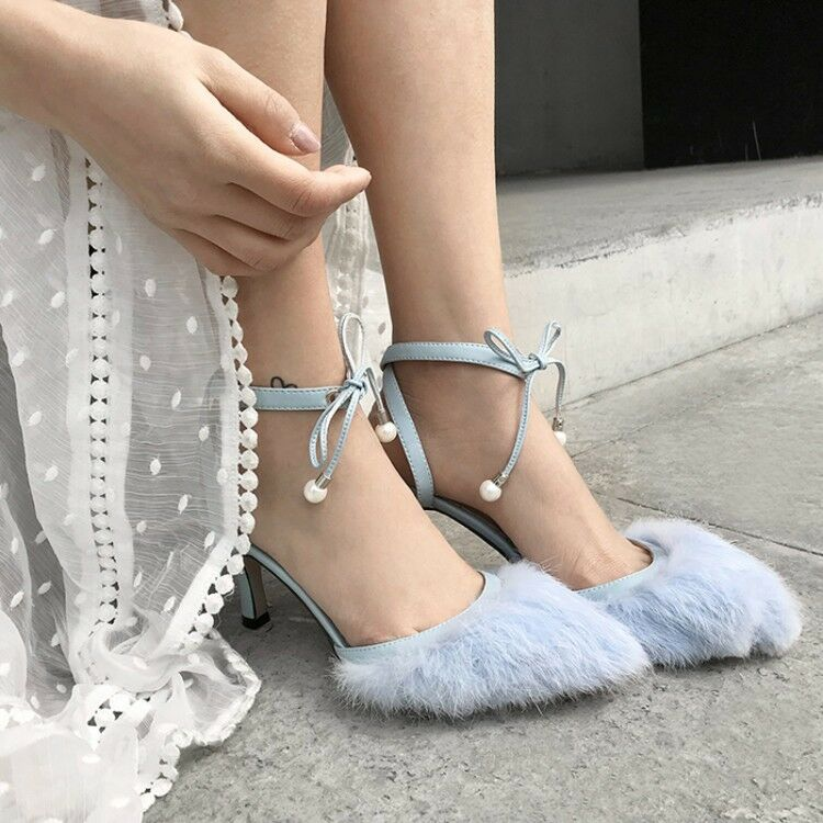 New Womens Rabbit Fur Ankle Strappy Elegant Wedding Party Casual Slingbacks Shoe