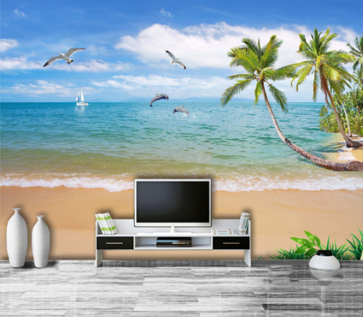 3D Palm Tree Beach 14 Paper Wall Print Wall Decal Wall Deco Indoor Murals
