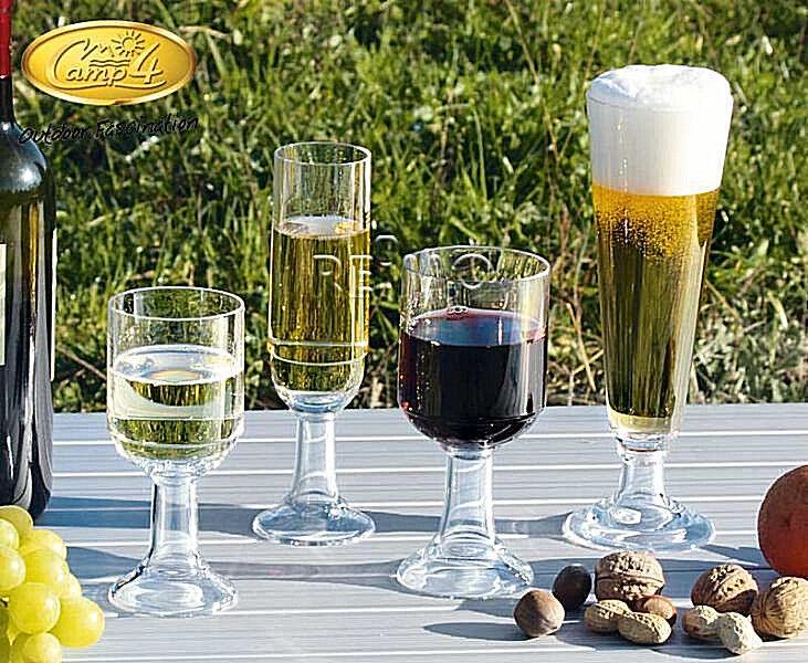 Camping Camping Camping premier équipement verres, polycarbonate, 10er Set pour 2 personnes. Bière, vin, champagne 6851d5