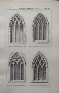 Image Is Loading 1850 ANTIQUE GOTHIC ARCHITECTURE PRINT WINDOWS GEOMETRICAL INTERSECTING