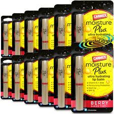 12x Carmex Moisture Plus BERRY Sheer Tint Ultra Hydrating Lip Balm 2g Vitamin E