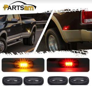 4pc-Smoked-Lens-LED-Fender-Bed-Side-Marker-Lights-Amber-Red-For-Dodge-RAM-HD