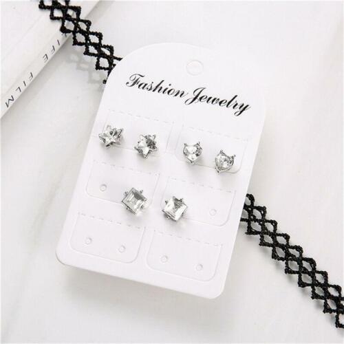 Gift Heart Star Earring Rhinestone Ear Stud Chic Sweet Multi Pack Statement T