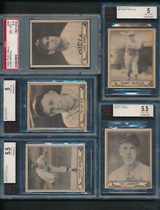1940-Play-Ball-Baseball-Group-Lot-of-5-Cards-PSA-6-5-BVG-5-5-BVG-5