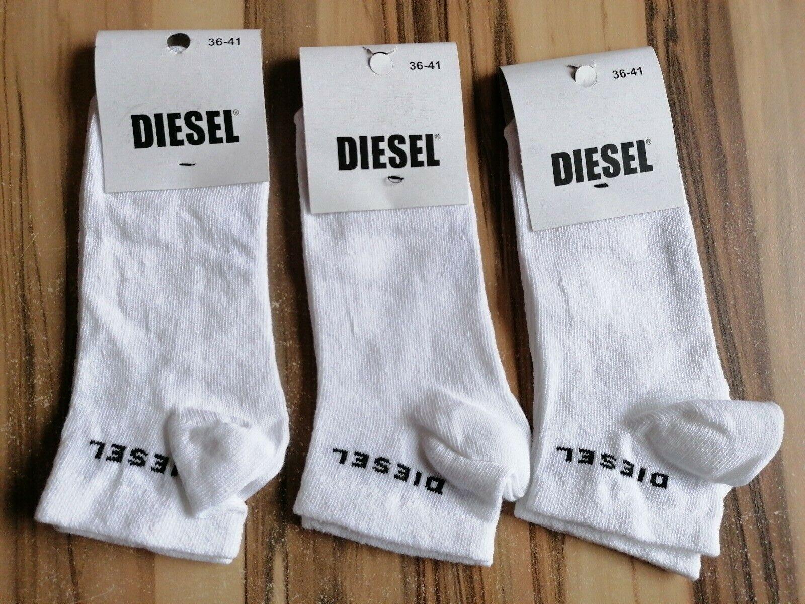 Diesel Sneaker Socken , Farbe : Weiß , Größe : 36 - 41 , 3 Paar