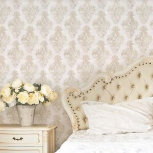 Image Is Loading Paper Vintage Wallpaper Roll Wallcovering Damask Ivory Pearl