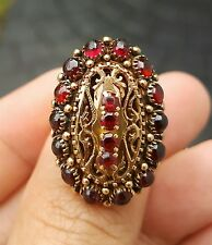 Stunning Victorian Garnet and 14k Solid Gold Ring 12 grams Size 8