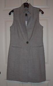 WHITE HOUSE BLACK MARKET Long Grey Vest Sz 0 NWT $160