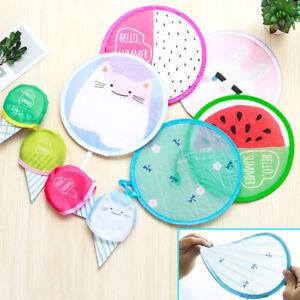 Cute Cartoon Pattern Foldable Round Hand Fan Cooling  Pocket Portable Fan