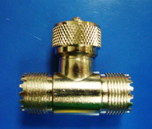 m f Tee RF Coaxial Connector Adapter Caltronics 46-362B UHF to UHF