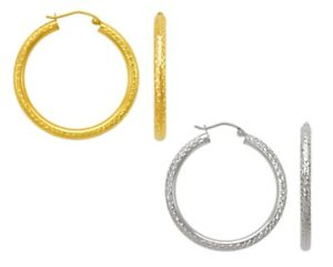 14K-Solid-Yellow-White-Gold-Italy-DC-Large-Hoops-Women-Round-Tube-Hoop-Earrings