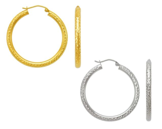 14K Solid Yellow White Gold Italy DC Large Hoops Women Round Tube Hoop Earrings