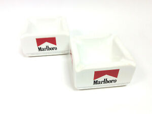 2x MARLBORO VINTAGE CERAMIC ASHTRAYS - Free UK Postage