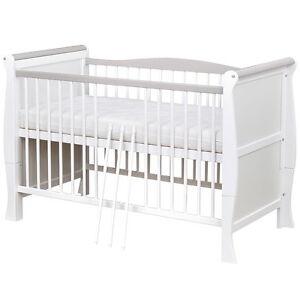 Babybett Kinderbett Gitterbett umbaubar Weiß / Grau Massivholz ...