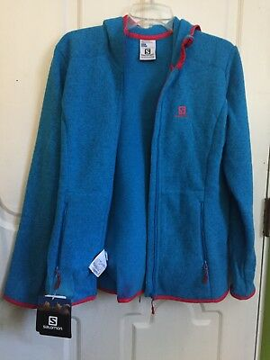 NWT Salomon Womens Bise Hoodie Large, Methyl Blue with red lining | eBay