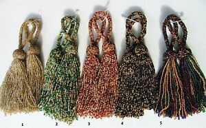 """SET OF TWO 8/"""" Glass Beaded Key Tassels ~ CHOICE of COLORS"""