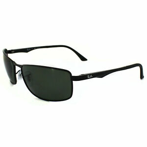 ac02fb59378 Image is loading RayBan-Sunglasses-3498-002-9A-Black-Polarized-Green