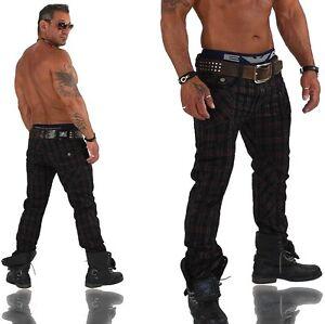 KOSMO-LUPO-K-amp-M-Designer-Jeans-Hose-Cargo-Style-Clubwear-Karo-Kariert-KM-327