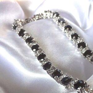 GB-Black-Onyx-Sim-Diamond-18-4cm-Silver-Bracelet-white-gold-fill-BOXED-Plum-01