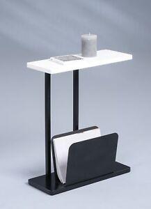 Tisch-Telefontisch-Beistelltisch-Zeitungstisch-Konsole-ALPHA-weiss-schwarz-Metall