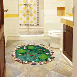 fish pond 3d lotus floor wall sticker removable mural decals bathroom art decor ebay. Black Bedroom Furniture Sets. Home Design Ideas
