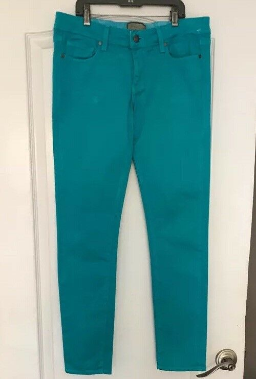 New Paige Womens Turquoise bluee Cotton Stretch Peg Skinny Leg Pants Size 27