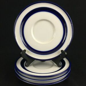 Set-of-4-VTG-Saucer-Plates-6-034-Noritake-Fjord-Blue-and-White-Stoneware-Japan