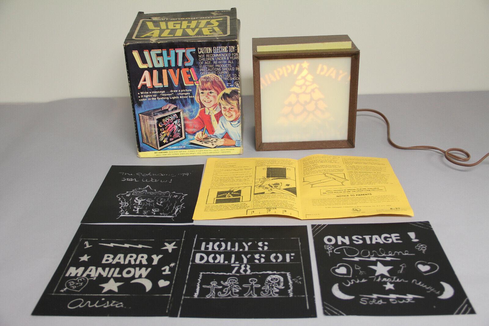 Vintage 1977 Transogram Lights Alive  4000 Box fonctionne très bien Couleuré message fun