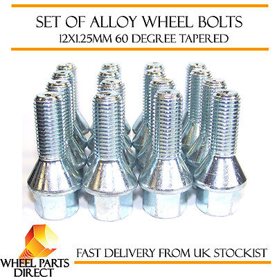 Alloy Wheel Bolts Black 12x1.25 Nuts for Peugeot 206 98-10 16