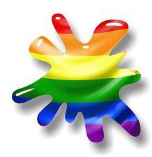 Retro Old School SPLAT & LGBT Gay Pride Rainbow Flag vinyl car sticker decal