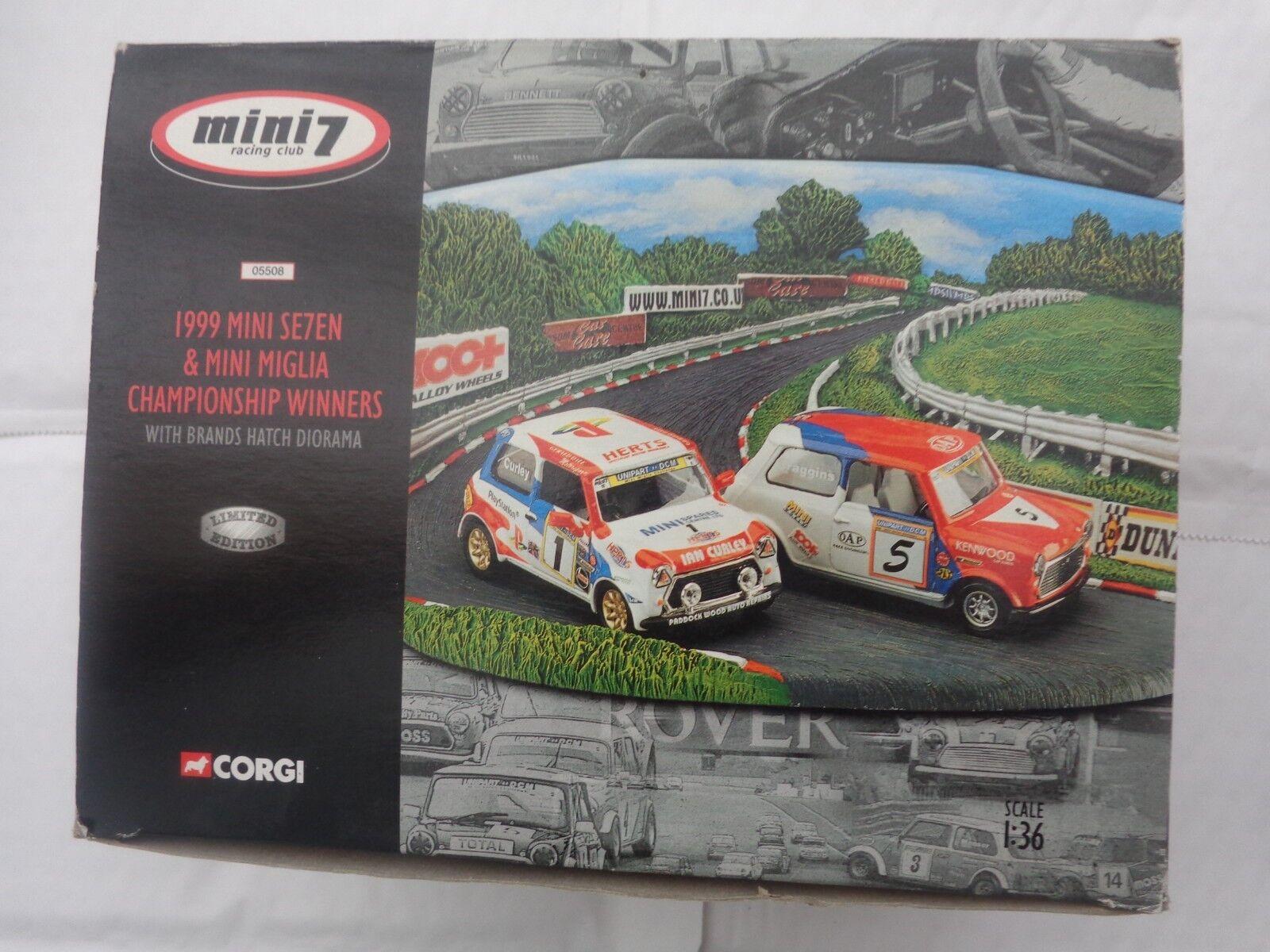 CORGI 1 36 MINI SE7EN & MIGLIA 1999 WINNERS CARS +BRANDS HATCH DIORAMA 05508 NEW