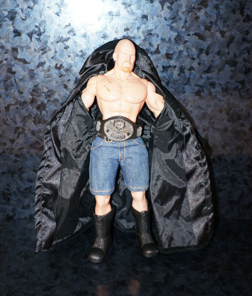 WWE STONE COLD STEVE AUSTIN WWF Wrestling Figure Smoking SKULL Belt Jakks Toy