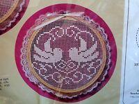 Hand Embroidery Kit Love Birds 1332 Creative Circle Vintage 1986