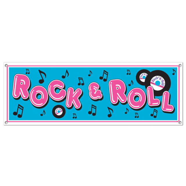 "1950s 50s Sock Hop Grease Party Decoration SIGN BANNER 60"" x 21"" ROCK & ROLL"