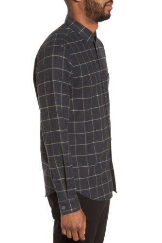 Mens S 888718968191 Theory manga con camisa de Grid larga Franela Rammy botones Charcoal Multi F7aOd7q