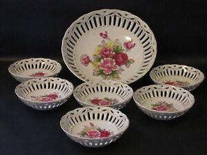 Vintage-Japan-Open-Work-Fruit-Bowl-Berry-Bowls-Set-Porcelain-Floral