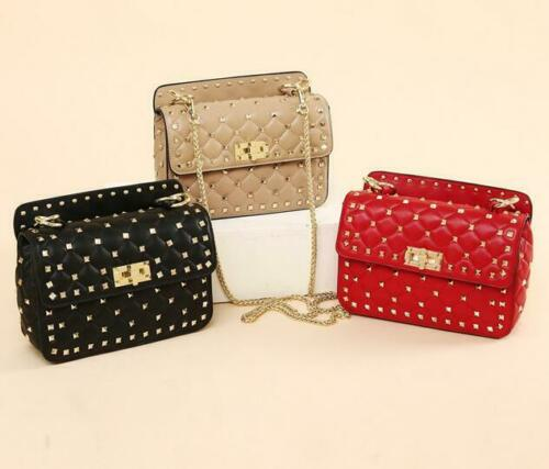 Fashion Womens Handbag Rivets Leather Tote Lady Purse Chain Strap Shoulder Bag