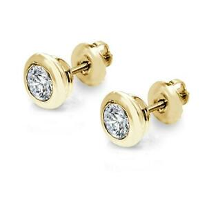 SI1-G-0-50Ct-Real-Diamond-Solitaire-Stud-Earring-Donut-Bezel-Set-14K-Yellow-Gold