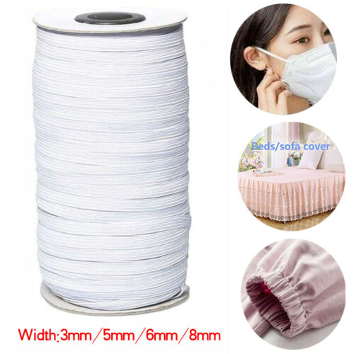 3mm-8mm White Flat Elastic Cord Rope Woven Bungee String Stretchable Sewing Band