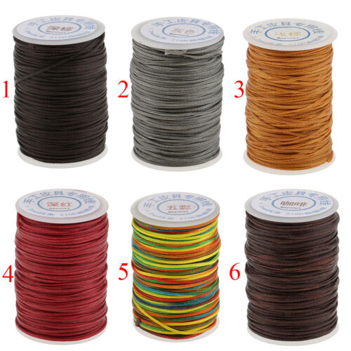 70m 1.2mm Sewing Flat Waxed Cord Thread For Leather Leathercraft Deep Brown